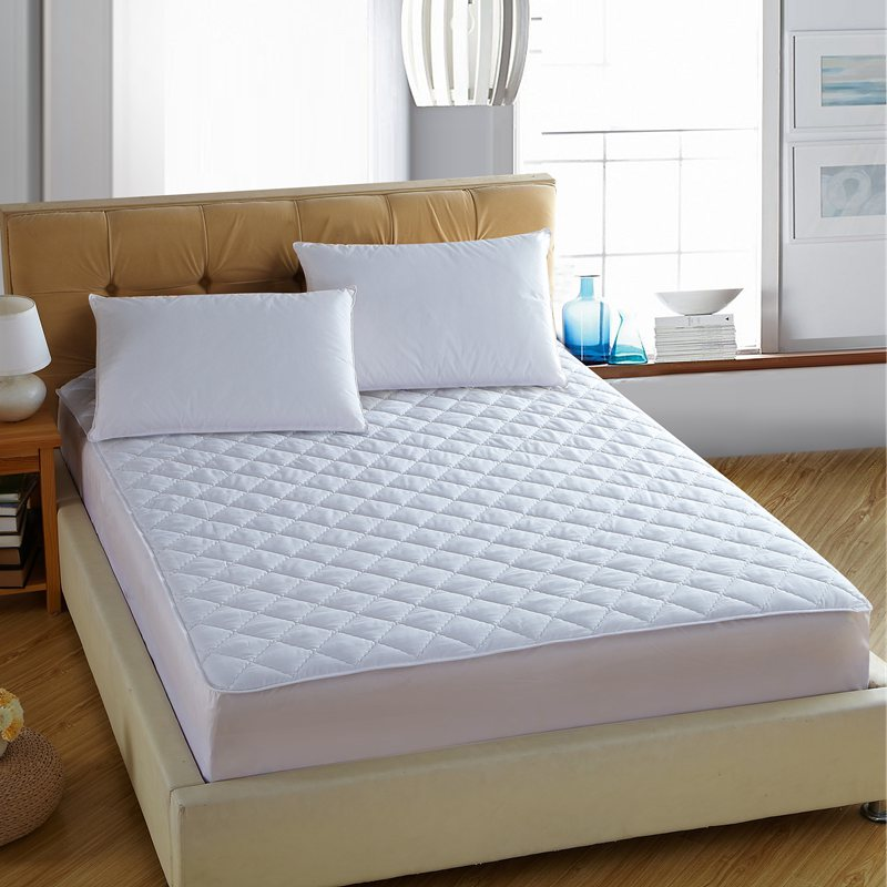 White Bed Protection Pad Quilted Mattress Protector Hotel Cover Polyester Woven Single Twin Full Queen King Size Sheet
