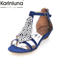 Gladiator Beaded Sandals 2014 Brand New For Women Sexy T Straps Low Wedges Summer Shoes Fashion