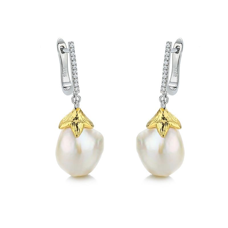 Natural pearl drop earrings Baroque pearl 925 silver pendant earrings with zircon for women Natural pearl drop earrings Baroque pearl 925 silver pendant earrings with zircon for women