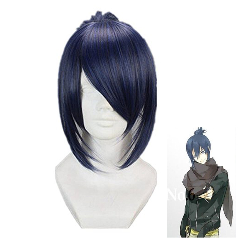 Future City No.6 Nezumi Short Ponytail Anime Cosplay Wigs Blue Grey Mix +Wig Cap