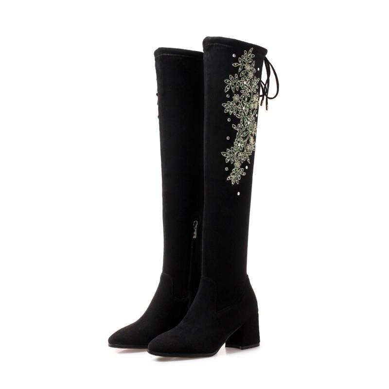Rodilla Cuero 34 La Tamaño Caña 43 Otoño 2018 Morazora Sobre Botines Tacones Negro Invierno Mujeres Botas Zapatos Alta Flock Grande De PYtwqp0