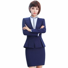 Blue Blazer With Skirt 2 Piece Set Formal Skirt Suit S-4XL Office Lady Uniform Designs Women Elegant Work Jacket and Skirt