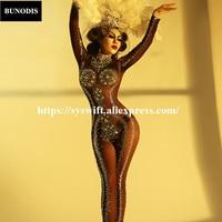 BU310 классический Чистая Пряжа большой Стекло бриллиантами Для женщин комбинезон с 2000 шт. сверкающими кристаллами ручной работы боди Вечерн