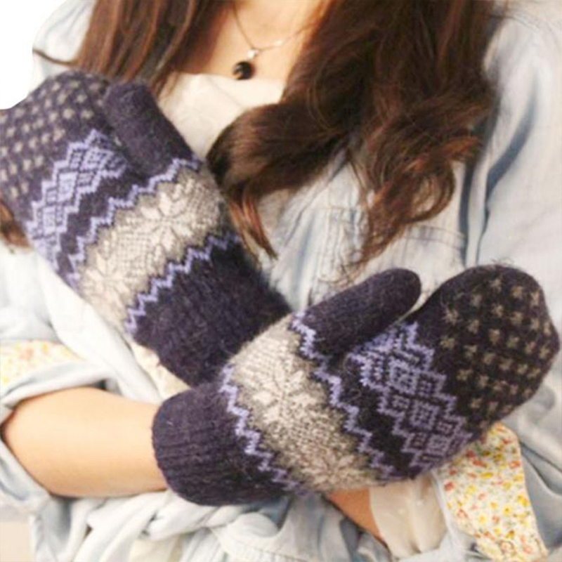 KLV Women Winter Warm Knitted Gloves Christmas Jacquard Mittens Snowflake Gloves Fashion New