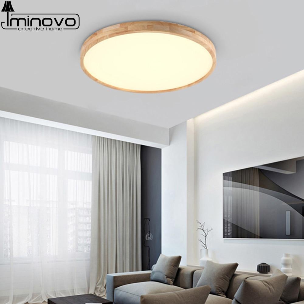 LED Ceiling Light Modern Wooden Panel Lamp Round Lighting Fixture ...