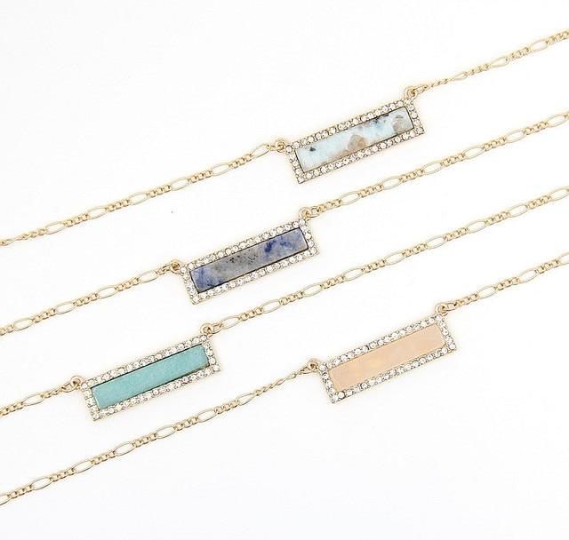 Stone Appeal Long Bar Pendant Delicate Necklace Women