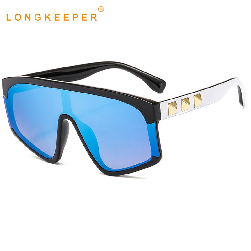 Роскошные панк Солнцезащитные очки женские заклепки негабаритные солнцезащитные очки крутые очки с зеркальными линзами плоские верхние градиентные очки Oculos De Sol UV400