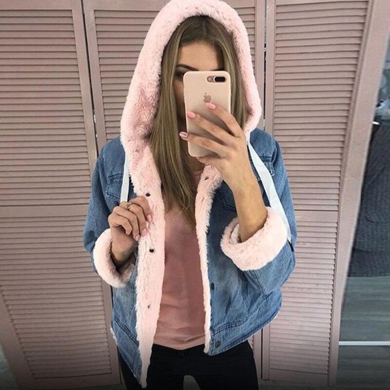 Femmes jean veste hiver épais fausse fourrure col polaire à capuche denim manteau femme blanc rose violet chaud denim plus velours outwea