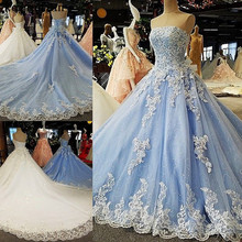 kejiadian Gorgeous Lace Ball Gown Wedding Dresses blue 2018