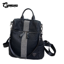 CGMANA Diamond Backpacks Female 2018 High Quality Soft Leather Vintage Elephant Pattern Women Bolsa Feminina