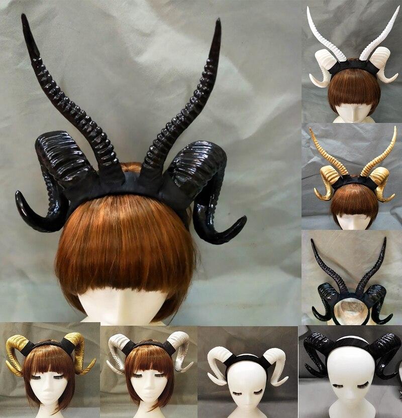 Halloween Ram Devil Horns Headpiece Sheep Horn Ear Hair Hoop Headband Manual Aries Exhibition Cosplay Photo Props Hair Accessory