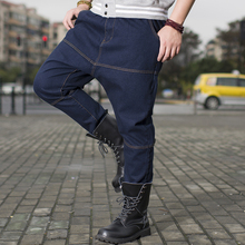 ANBOLUO Hip-hop loose Men's jeans Plus fat large Hanging crotch jeans 46 44 42 Washing cotton Young men Low waist collapse pants