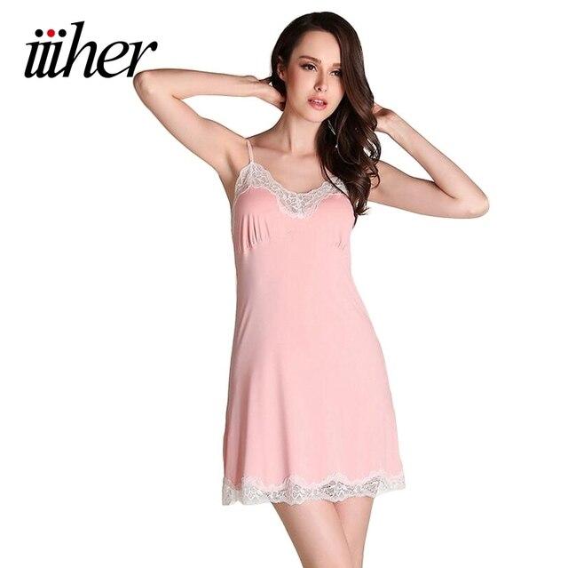 iiiher Sexy Lingerie Women Nightwear Mini Nightgowns Tempatation Deep V Straps Night Dress Sleepwear Hot Robe Chemise De Nuit