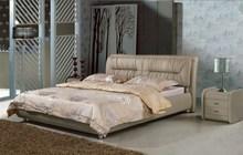 Современные реальные натуральная кожа кровать/мягкая кровать/двуспальная кровать king/королева размер спальни дома мебель коричневого цвета + 2 тумбочки