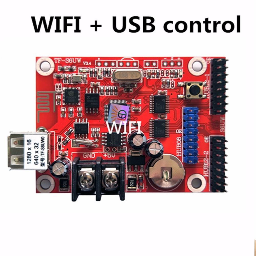 Asynchronous TF-S6UW0 <font><b>LED</b></font> SIGN WIFI <font><b>Control</b></font> <font><b>card</b></font>, <font><b>P10</b></font> P8 P5 P6 <font><b>module</b></font> panel <font><b>LED</b></font> Display, suitable for single & double colors image