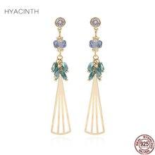 hot deal buy hyacinth 925 silver jewelry long earring chain 100% s925 sterling silver boucle d'oreille drop earrings for women jewelry