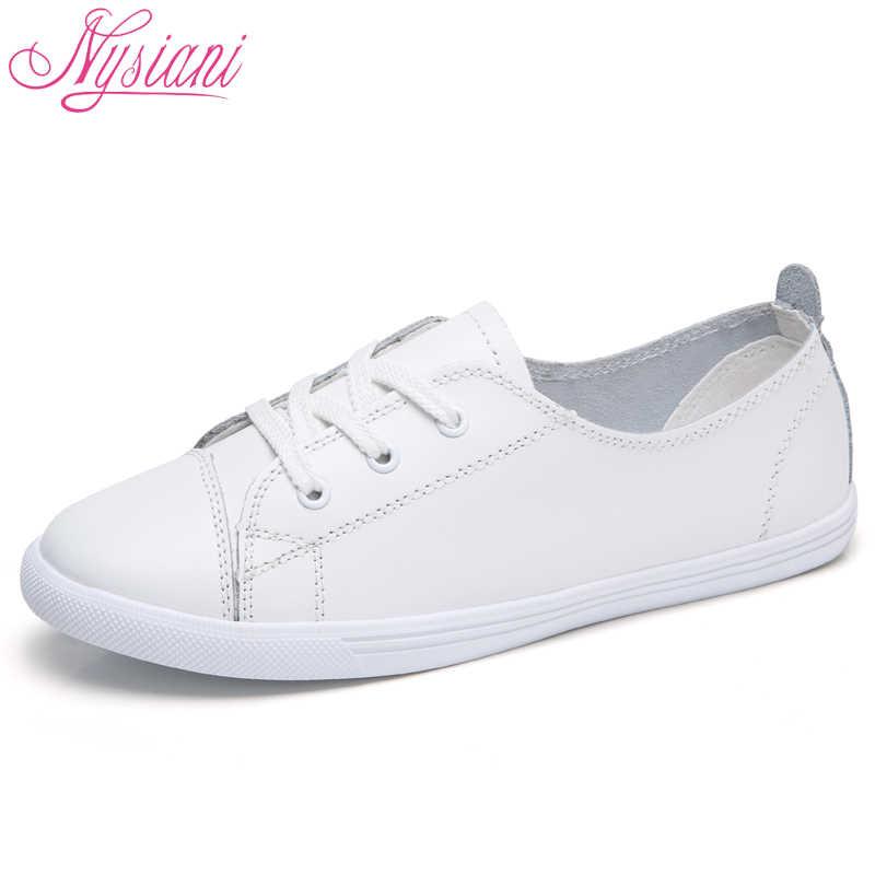 e143dc68b Nysiani женские Разделение кожа плоские легкие кожаные туфли Осенняя обувь  на платформе Дышащие Модные Кружево до
