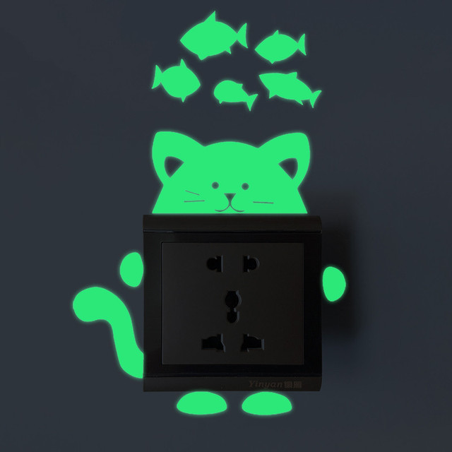 Pegatinas con luz dibujo gato