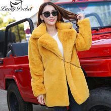 Winter Female New Rabbit Fur Coat Women Thick Warm Turn Down Collar Faux Fur Jacket Fashion Fluffy Loose Long Sleeve Parka Z1011(China)