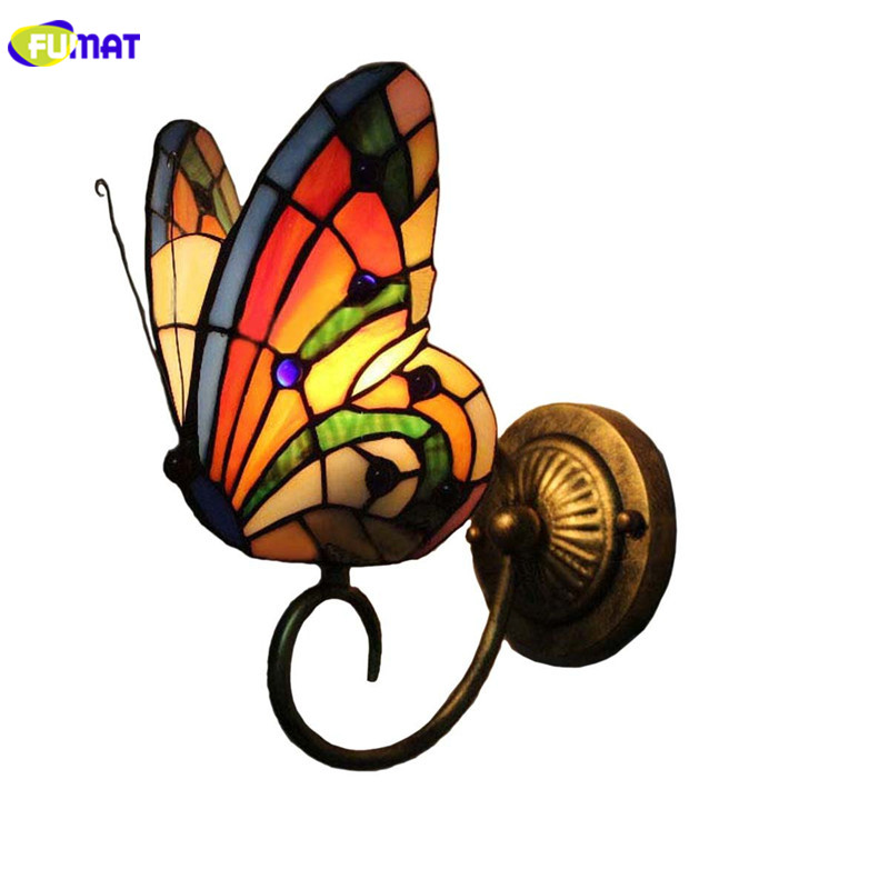 "FUMAT Tiffany Wall Lamps LED E26 Stained Glass Wall Sconces Lighting Fixture W4"" Butterfly1 Arm Wall Light Mirror light Art Lamp"