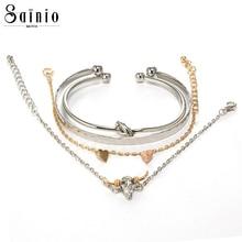 купить 4pcs/Set Bohemia Love Heart Ox Head Knot Hand Cuff Link Chain Charm Bracelet Bangle for Women Silver Gold Bracelets Jewelry дешево