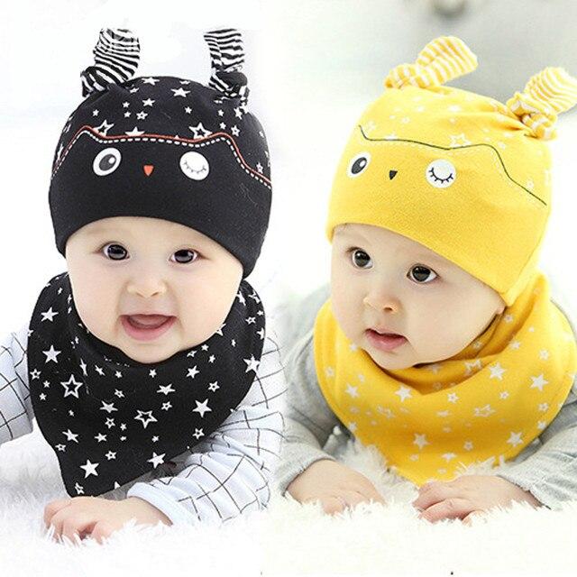 53d5aa12b US $4.57 12% OFF|Hot Spring Autumn Winter Warm Baby newborn children Beanie  Kids Girls Boys 2PCS Set Hat+Bandana Bib Saliva Head Scarf Hats Caps-in ...