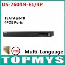 DS-7604N-E1/4P POE NVR with 4 Independent Interfaces 4CH& 4POE HD nvr 5MP for IP Camera Network Video Recorder Multi-language