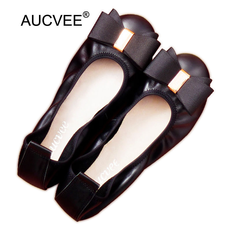 AUCVEE Brand Women Shoes Flats Genuine Leather Balerinas Shoes For Woman Moccasins Loafers Soft Leisure Ballet