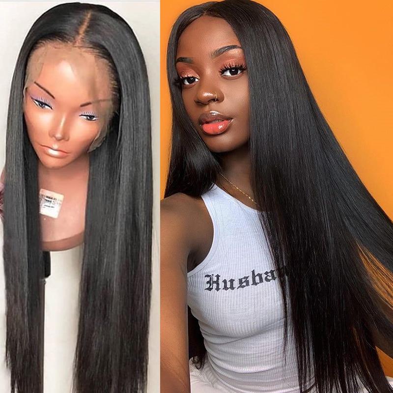 Straight Lace μπροστινή ανθρώπινη περούκα - Ανθρώπινα μαλλιά (για μαύρο)
