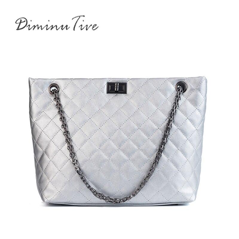 DIMINUTIVE New Women Leather Handbag Diamond Pattern Shoulder Bag Chain Satchel Tote Bag Shopping Bag Sliver Sling High Capacity