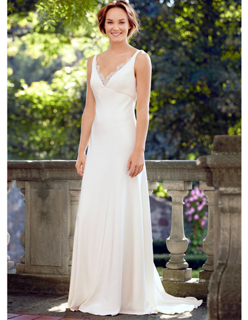 Sexy white long beach wedding dresses bohemian v neck see through lace back 2015 plus size satin bridal dress trouwjurken UD_705
