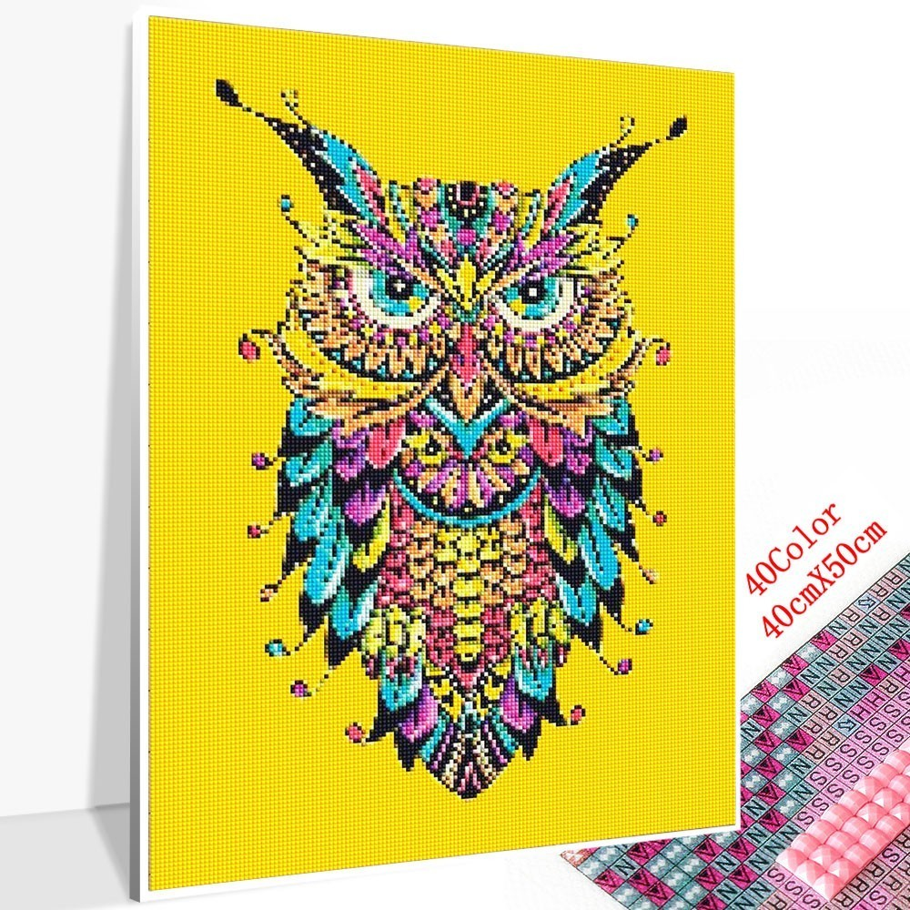 Huacan Embroidery Sale Animal Owl 5D Diamond Mosaic Full Square Diamond Painting Sunset Picture Rhinestone Home Decor Drop Ship in Diamond Painting Cross Stitch from Home Garden