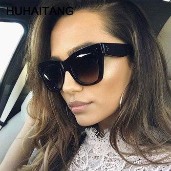 HUHAITANG Luxury Women Sunglasses Vintage Oversized Square Brand Designer Sunglass For Woman Oversize Sun Glasses Womens 2019