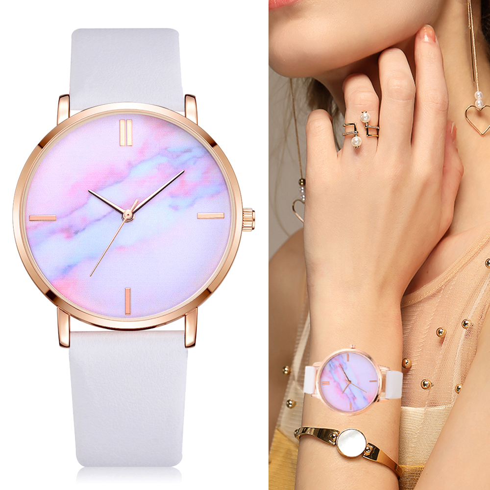2018 Lvpai Brand Women Watches Luxury Leather Strip Marble Dial Dress Wristwatch Ladies Gift Quartz Clock Relogio feminino(China)