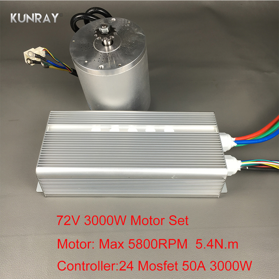 KUNRAY BLDC 72V 3000W Brushless Motor Kit With 24 Mosfet 50A Controller For Electric Scooter E