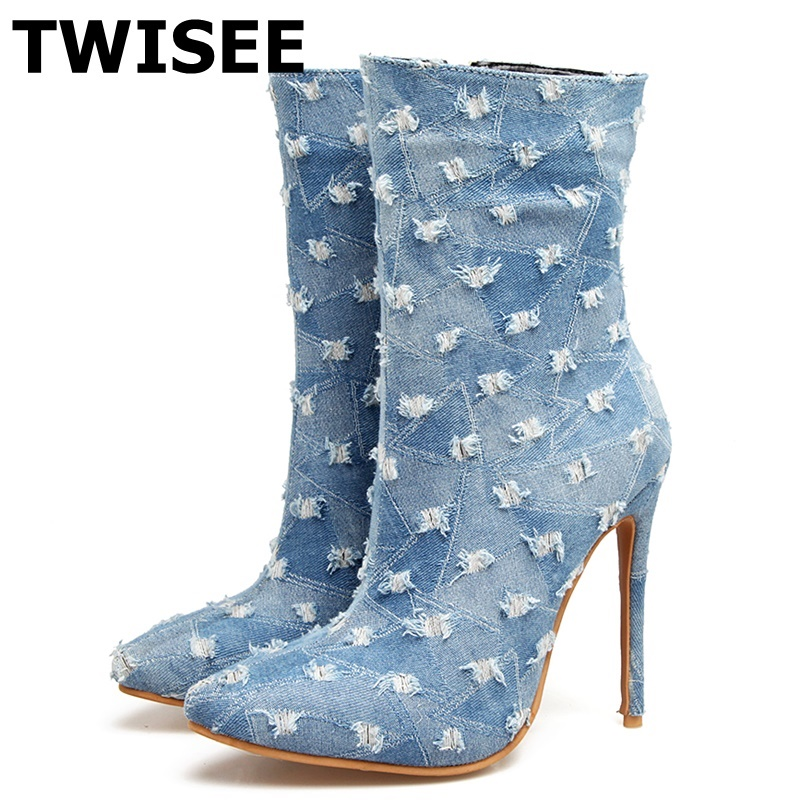 TWISEE Denim women thigh high 12cm boots Winter ankle Boots Light blue dark blue dance Boots 3Pointed Toe shoes 4-43 велосипед altair city high 28 19 2015 dark blue