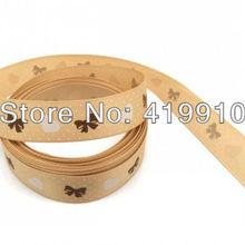 5 Yards Coffee Hearts&Rosette&Dot 16mm Wide Wedding Craft Printed Satin Ribbon