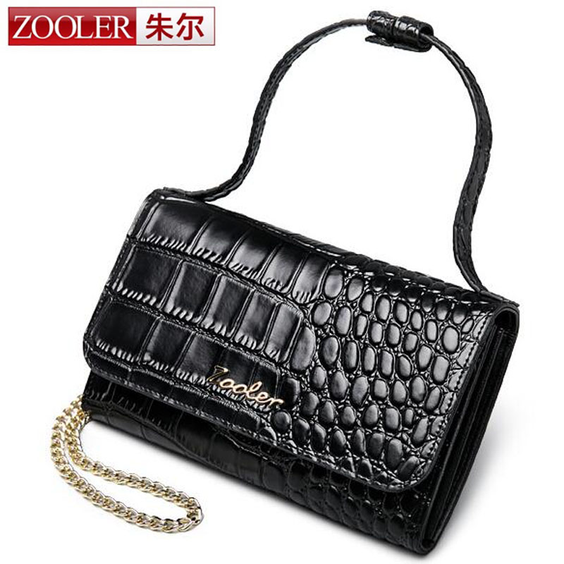 ZOOLER Genuine Leather Women Handbag Crocodile Pattern Small Flap Bag Female Shoulder Bag with Chain Ladies Messenger Cards Bag yuanyu 2018 new hot free shipping import crocodile women chain bag fashion leather single shoulder bag small dinner packages