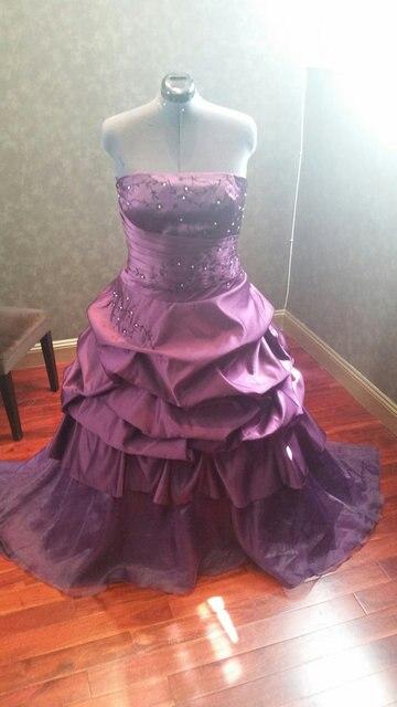 Custom Made Plus Size Gothic Wedding Dress Strapless Court Train ...