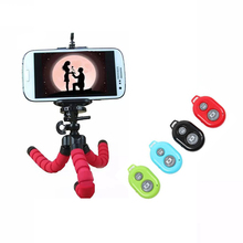Camera Mini Flexible Tripod Stand Monopod+Remote Control+Phone Clip with 1/4 Screw For Iphone 7 6 5 4 4s All Mobile Phone
