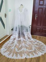 White Ivory Lace Applique Long Bridal Capes Wedding Wraps Cloaks Shrug shawl train lace jacket wedding cape dress for women