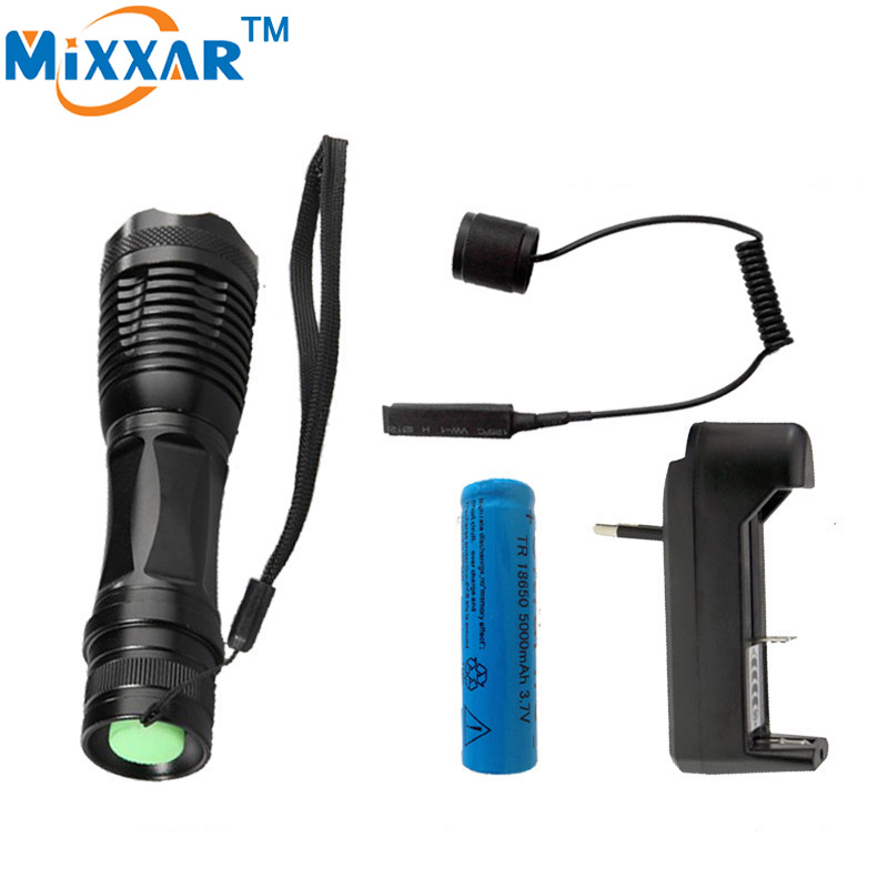 zk50  CREE XM-L T6 led tactical flashlight 8000Lm torch Adjustable lanterna for Hunting + 18650 battery + Remote Switch+Charger led tactical flashlight 501b cree xm l2 t6 torch hunting rifle light led night light lighting 18650 battery charger box