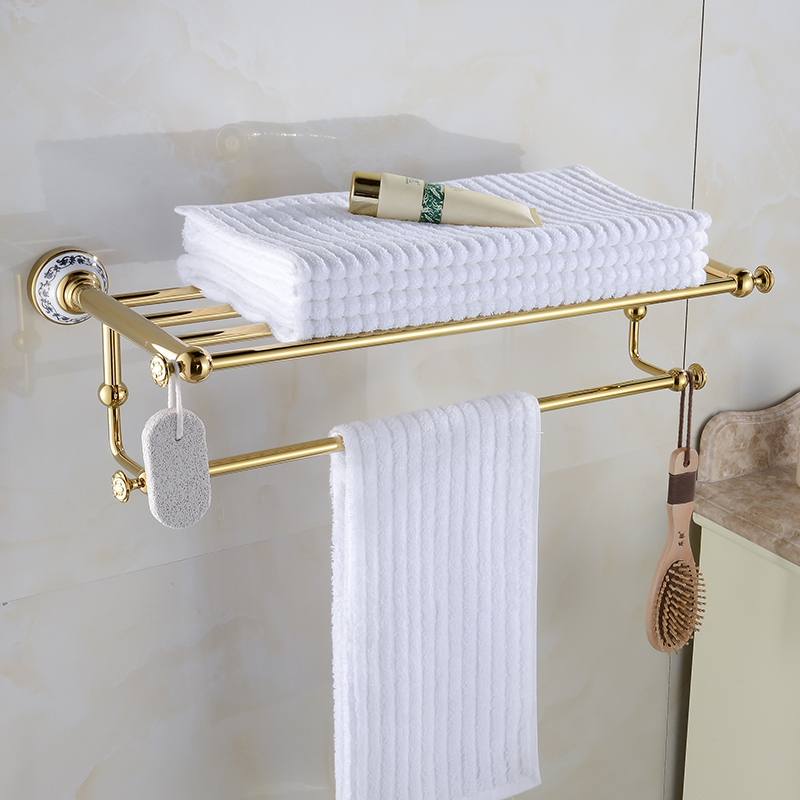 Luxury Gold Finish Double Towel Racks Bathroom Shelves Ceramic Accessories Towel Bar Wall Mounted Towel Rail Bath Hanger XE3390 in Towel Racks from Home Improvement