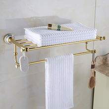 Luxury Gold Finish Double Towel Racks Bathroom Shelves Ceramic Accessories Towel Bar Wall Mounted Towel Rail Bath Hanger XE3390 free shipping towel racks luxury bathroom accesserries golden finish bath towel shelves towel bar bath hardware db008k 1