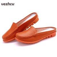 VZEHCU Chaussures Femme sandales femmes d'été demi pantoufles flip flops Cuir Véritable sandales sabots Chaussures Femme Grande Taille 35-41 3d18