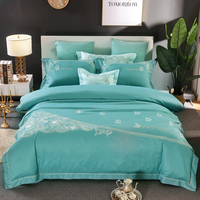 2018 Luxury 80S Tencel Bedding Set Queen King size embroidery Duvet Cover Bed sheet set Pillowcase
