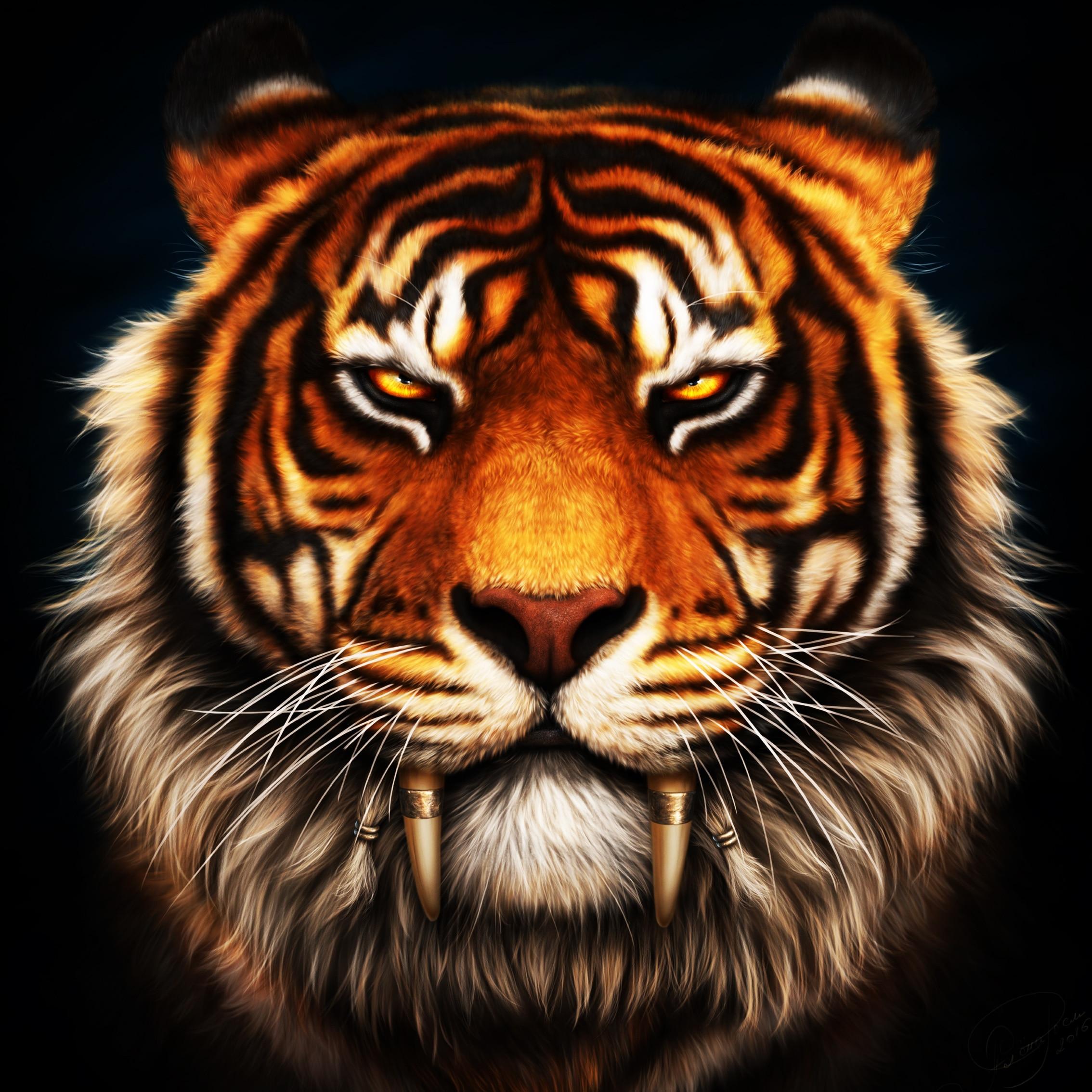 Saber Tooth Tiger 3d Wallpaper Face Tiger Fangs Sabretooth Living Room Home Art Decor