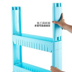 Image 5 - Beweglichen Kunststoff Zwischenraum Lagerung Rack Kühlschrank Raum Rack mit Roller Regale Küche Bad Kinderwagen Intervall 4 schicht