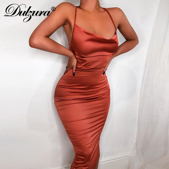 Dulzura neon satin 2019 summer bodycon dress