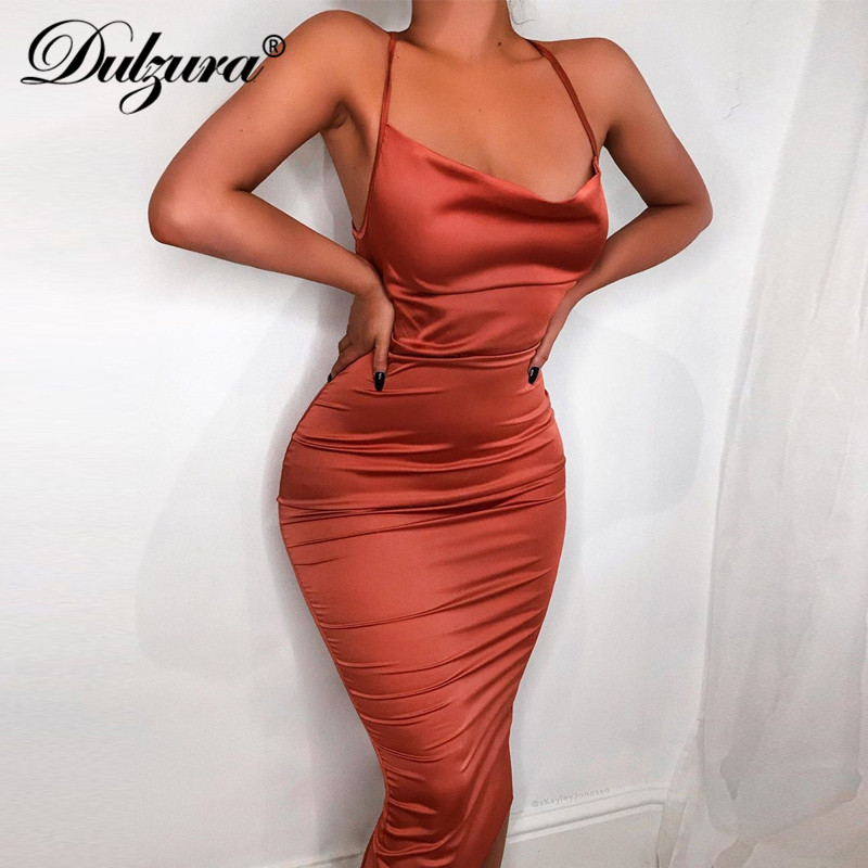 Dulzura neon satin lace up 2019 summer women <font><b>bodycon</b></font> long midi <font><b>dress</b></font> sleeveless backless elegant party outfits <font><b>sexy</b></font> club clothes image